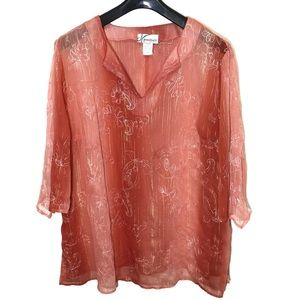 Dress Barn Woman Sheer Embroidered Blouse; 2X